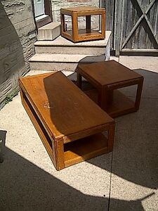 Solid wooden coffee table and end table.