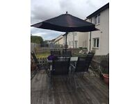 Garden 6 Seater Table and Chair Set with Parasol