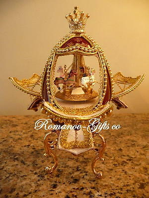 Russian Princess Musical Mocha Carousel Egg plays Waltz & gold pendant necklace for sale  Highlands