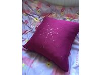 Pair of fuchsia pink diamante silk effect curtains and matching cushion
