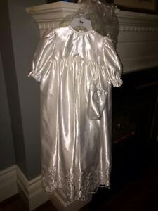 Simply Stunning Long Satin Christening Baby Gown w Bonnet 3pc