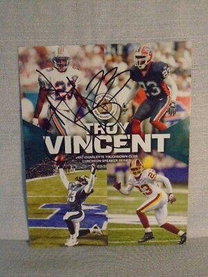 Troy Vincent Signed Dolphins Redskins 2017 Bronko Nagurski Football 8X10 Photo
