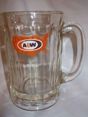 A&W BEER MUG LARGE CLEAR GLASS UNITED STATES LOGO RESTAURANT VINTAGE