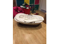 Issy Wot Not Moses Basket. Dark Wicker. Excellent Condition. Comes with Stand
