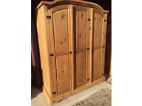 Mexican Pine triple wardrobe in very good condition
