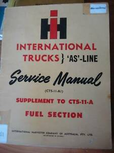 INTERNATIONAL TRUCK AS LINE SERVICE SUPPLEMENT FUEL SECTION c1958 Dianella Stirling Area Preview