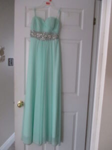Mint Green Prom Dress with Bling - Size Small