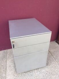 Modern grey metal pedestal filing cabinet