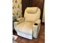 Electric Riser/Recliner Cream Leather Chair