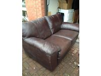 Ikea Leather Two Seater Chocolate Brown Sofa