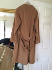 Laura Ashley collarless full length camel coat, size 14