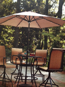 8.7 Ft Patio Umbrella with Solar-Panel, LED Lights, New in Pkg.
