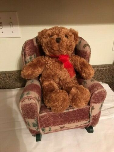Christmas  tan & green with moose rocking chair with teddy bear