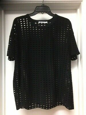 T ALEXANDER WANG Black Perforated Short Sleeve Top Sz Large