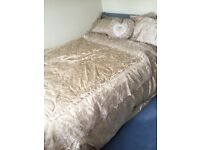 Gold Large Bedspread / Throw, 2 Pillow Shams & Heart Shaped Cushion