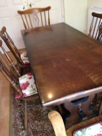 Dark Oak Dining Table and 6 Chairs FOR SALE