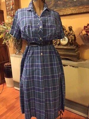 1940's Royal Miss DRESS Fashion Plaid Cotton/Rayon Avon Belt Vintage