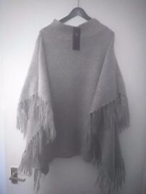 Poncho, M+S grey wool mix