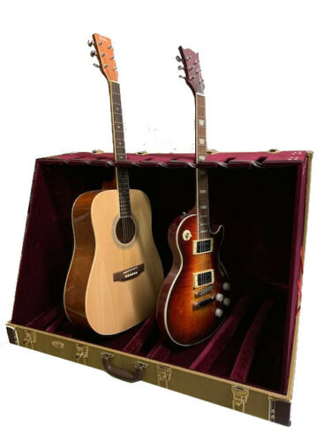 NEW 8 GUITAR SLOT HARDSHELL VINTAGE TWEED CASE STAND FOR STUDIO, STAGE OR HOME