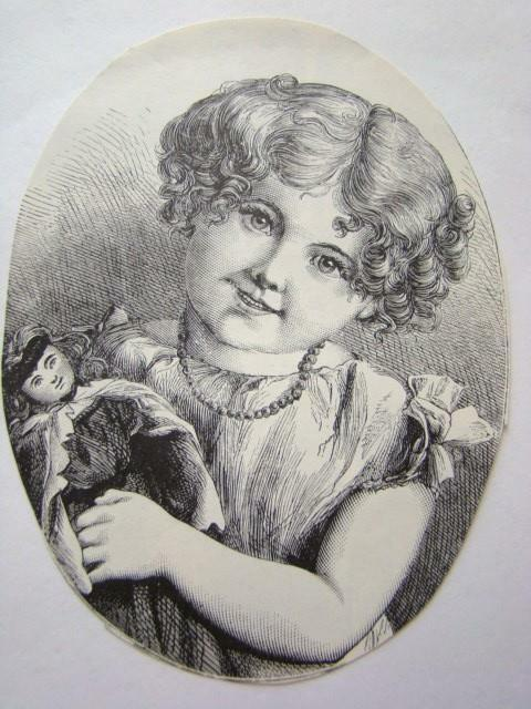 Charming Vintage Oval ETCHING Print, Little Victorian Girl with Dolly