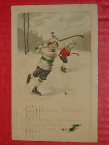 Old Hockey-themed postcards for sale. Original, early 1900s. OBO
