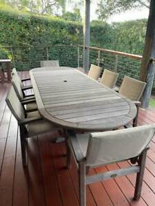OUTDOOR EXTENDABLE TIMBER TABLE PLUS CHAIRS
