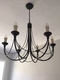 Black metal light fitting - great condition