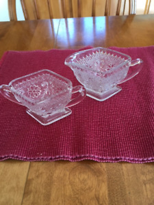 VINTAGE GLASS CREAM AND SUGAR BOWL SET