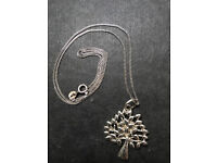 Tree of life pendant sterling silver 18 inch chain