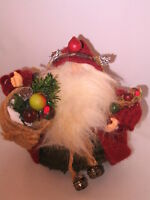 Handcrafted Santa Claus Christmas Recycled Felt Doll