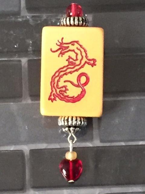 Bakelite Mah Jong/Jongg Tile Decorated Pin Red Dragon