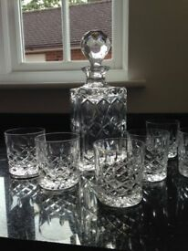 Crystal Decanter and 6 Crystal Tumblers.
