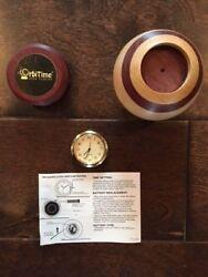 Mini Clock Quartz Insert Round 1 7/16 Gold Tone White Dial Silcon w/ Wood Clock