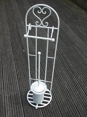 Ständer für Toilettenpapier WC-Rollenhalter Bürstengarnitur Eisen weiss 81 cm
