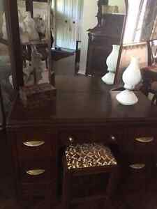 Vintage Vanity Dresser with Mirror and Stool Strathcona County Edmonton Area image 1