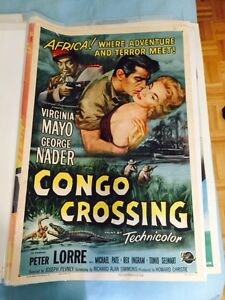 Vintage 1950's Movie Theater Poster, Peter Lorre -Congo Crossing