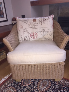 Two Lloyd Loom all weather wicker patio chairs