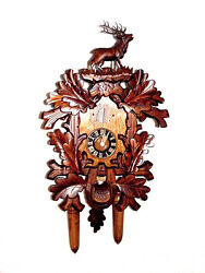 DOLD Q736 Large, 6 Leaves, 1 Stag, Quartz, German, Cuckoo Clock 22-inch Overall