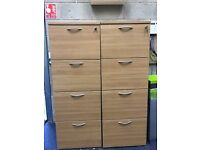 2 large wooden filing cabinets