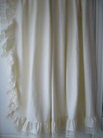 """2 pairs (4) plain cream curtains each 72"""" wide by 58"""" long -"""
