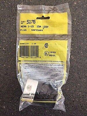 New Woodhead Nema 1-15 Plug-safeway Part 5176 15a 125v Polarized