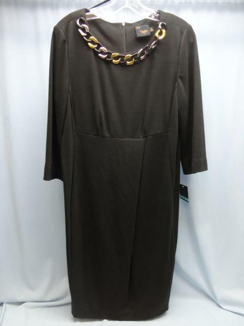 ~NEW~ Just Taylor Women's Black Dress Sz 16 NWT!! Attached Necklace Style 7320M