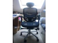 Ergonomic, adjustable comfortable office chairs, 2 available, VGC