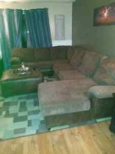 Large sectional with chaise and large ottoman
