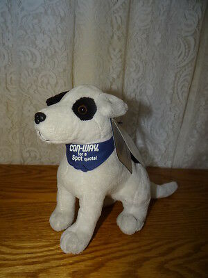 NWt CALL CONWAY FOR A ON THE SPOT QUOTE BLACK WHITE SPOT PUPPY DOG PLUSH
