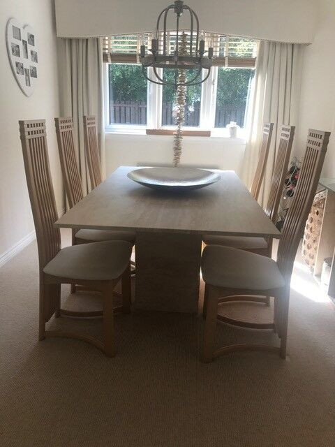 For Sale As New Sterling Furniture Marble Dining Table Matching Side Tv