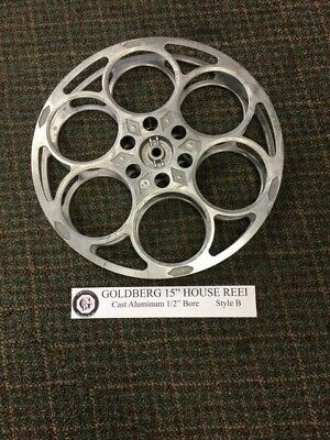 """35mm GOLDBERG Cast Aluminum Film Reel 15"""" with 1/2"""" bore STYLE B for sale  Shipping to India"""