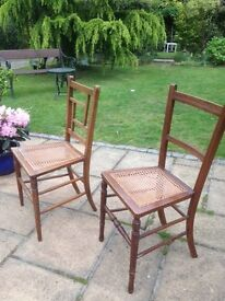 DELICATE OCCASIONAL CHAIRS WITH RATTAN INLAID SEATS