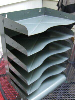 Vintage Vertiflex Industrial Metal Desk Paper Organizer 6 Trays File Tiers