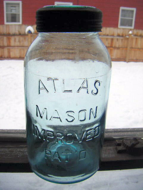 Rare fruit jar atlas mason improved Pat